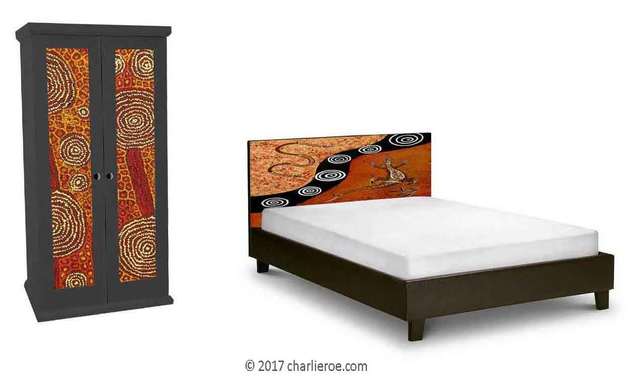 Aborigine style painted bed & double wardrobe with abstract 'dot' painted panels