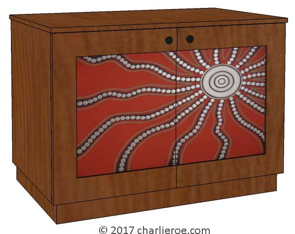 New Aborigine style cabinet cupboard bar sideboard, with abstract 'dot' painted panels