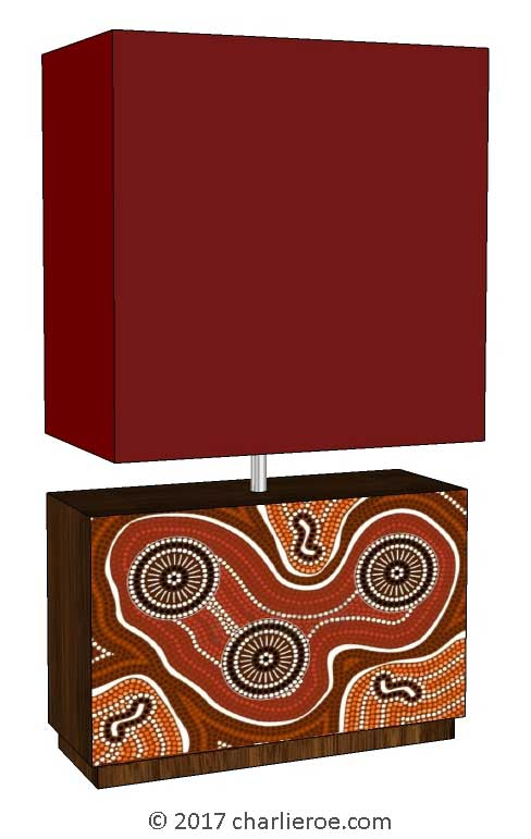 New Aborigine style dot painted table lamp