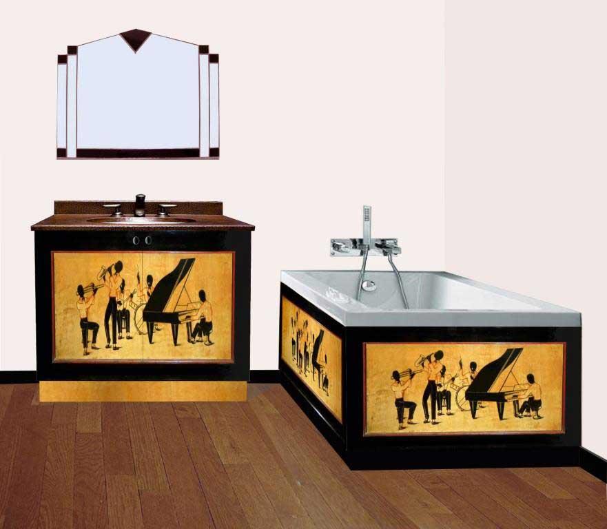 New Art Deco Oak 2 Door Bathroom Vanity Unit With Jazz Musician Silhouettes On Doors