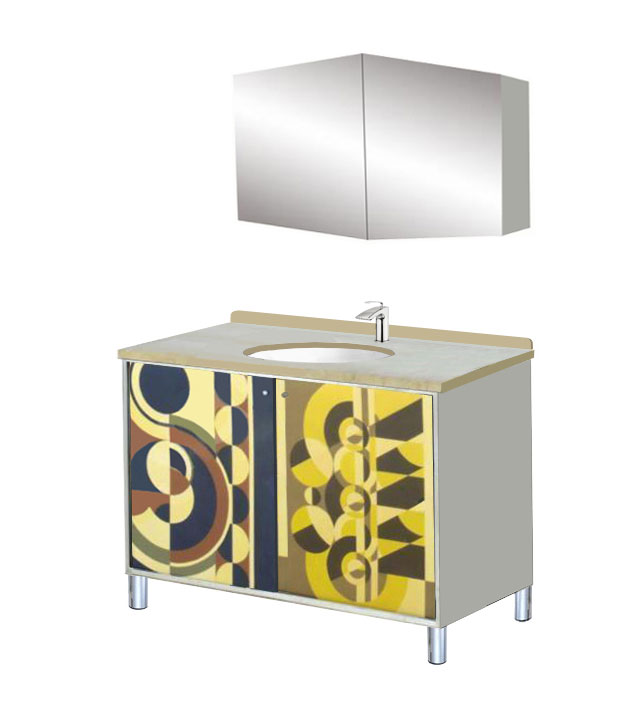 New Art Deco Rene Herbst Style Abstract Cubist Bathroom Vanity Unit Bathroom Furniture