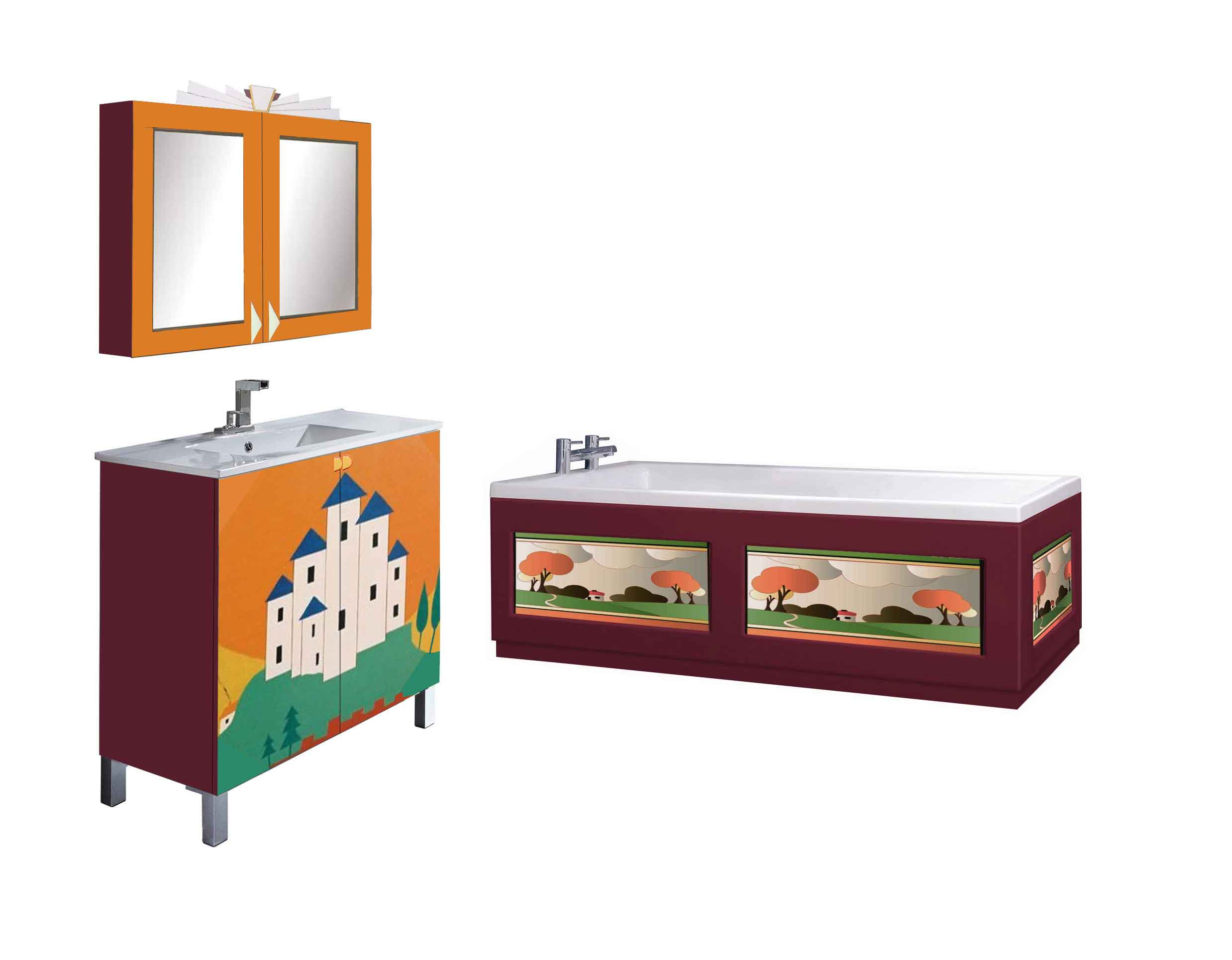 Clarice Cliff Art Deco design painted vanity units & wall mirror cupboards & bath panels & bathroom furniture