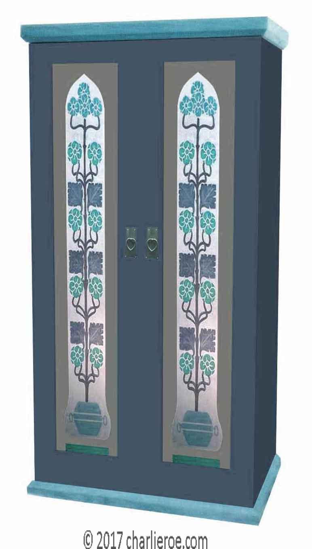 Painted Art Nouveau Wardrobe