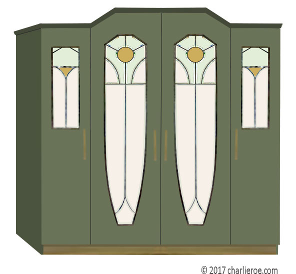 New Art Nouveau & Jugendstil Painted Bedroom Wardrobes