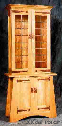 New oak Arts & Crafts display cabinet in oak with antique copper strap hingesl