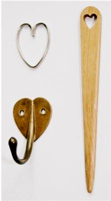 CFA Voysey Arts & Crafts Movement Heart keyring, letter opener & coat hook