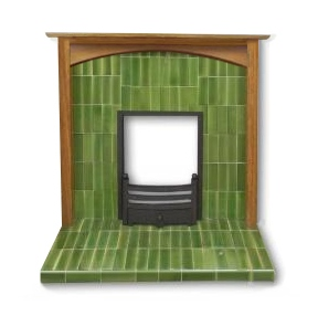 Arts And Crafts Fire Surround White And Green