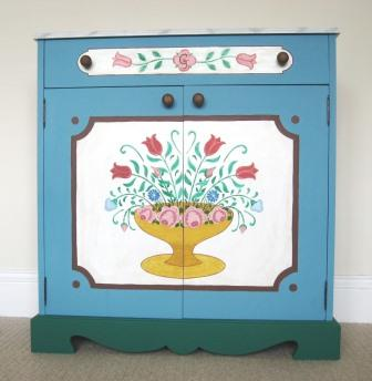 front of Ornate painted Austrian Tyrolean Baroque folk linen clothes cupboard furniture Bauern mobel