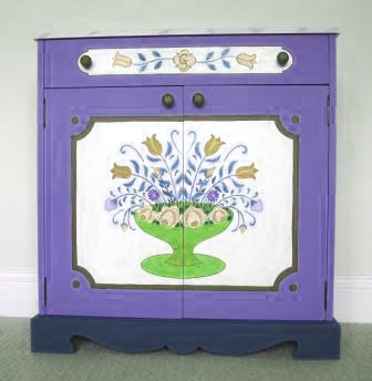 back design for an ornate painted Austrian Tyrolean Baroque cupboard folk furniture Bauern mobel