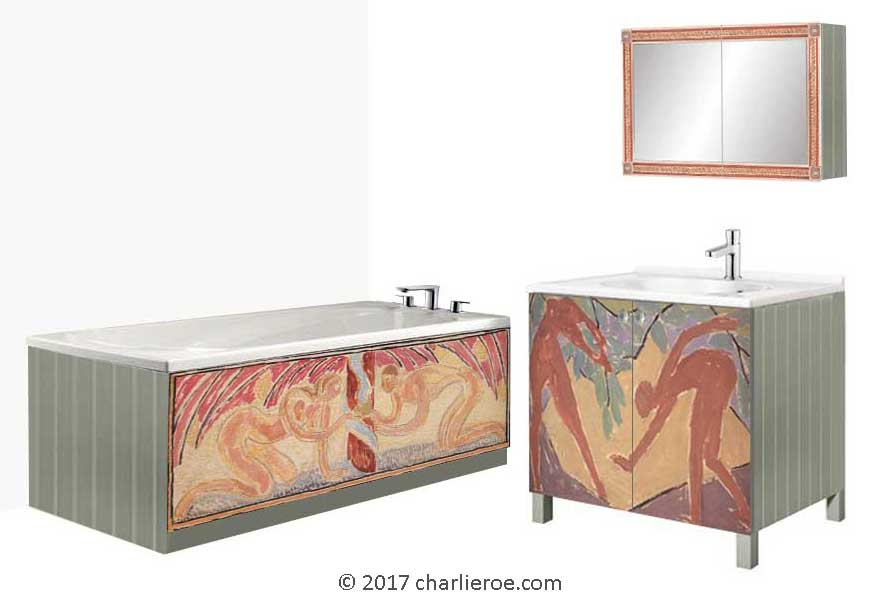 new Omega Workshops 'Adam & Eve' designs c.1913 by Vanessa Bell adapted to new bathroom furniture designs