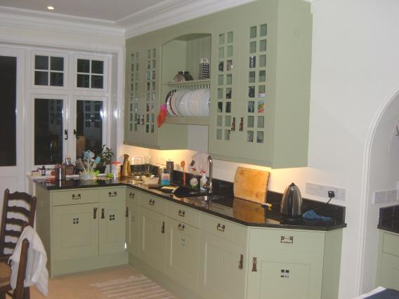 Charles rennie cr mackintosh glasgow school fitted painted for Arts and craft kitchen cabinets