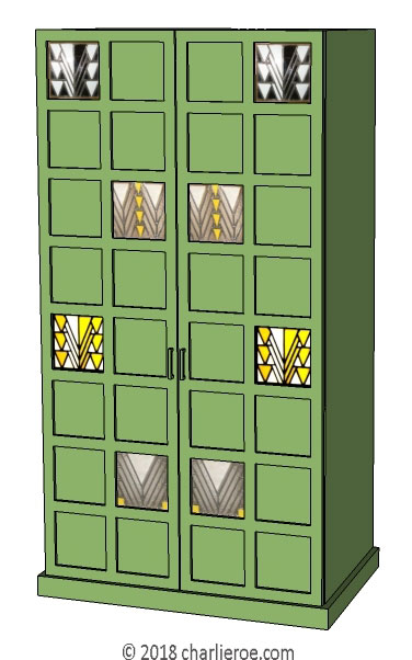 new CR Mackintosh Derngate style lacquered painted bedroom 2 & 4 door wardrobe with stained glass door panels