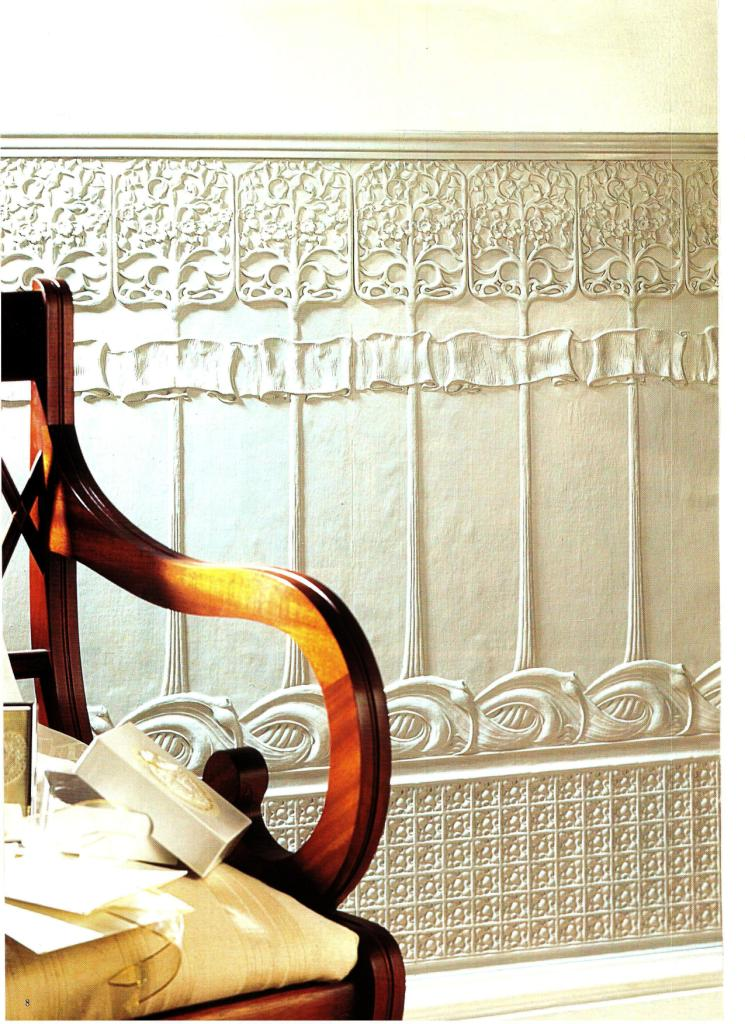 Charles Rennie CR Mackintosh embossed Lincrusta wallpaper