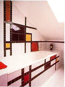 Piet Mondrian De Stijl style tiled bathroom interior