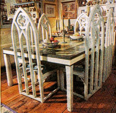 Gothic Carved Wood Painted Pine Dining Tables And