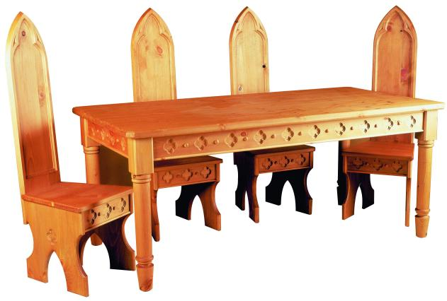 Gothic carved wood painted pine dining Tables and dining  : gothic dining table chairs 1 from charlieroe.com size 631 x 426 jpeg 32kB