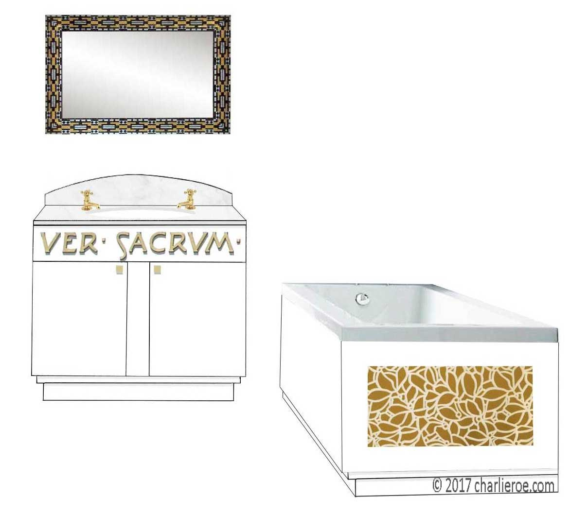 new Vienna Secession Art Nouveau Jugendstil painted bathroom vanity, bath panels & wall mirror