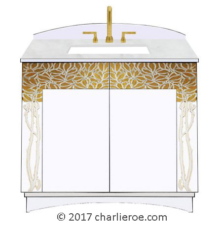 new Vienna Secession Art Nouveau Jugendstil painted 2 door bathroom vanity unit with cararra marble top