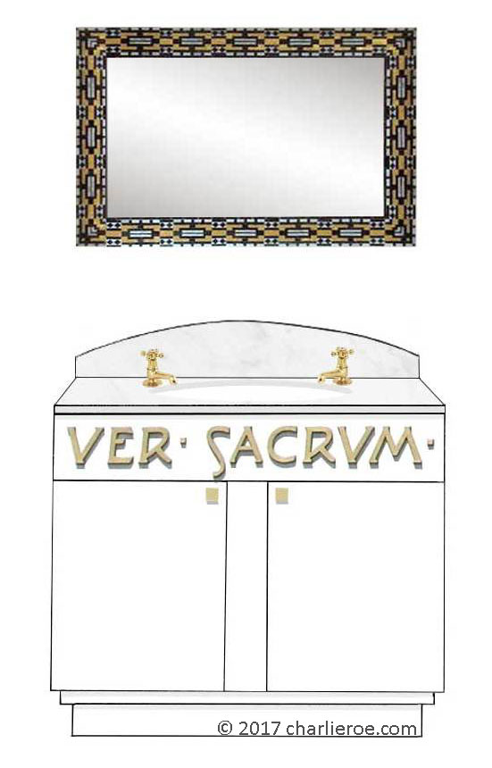 new Vienna Secession Art Nouveau Jugendstil painted 2 door vanity unit & matching Otto Wagner wall mirror