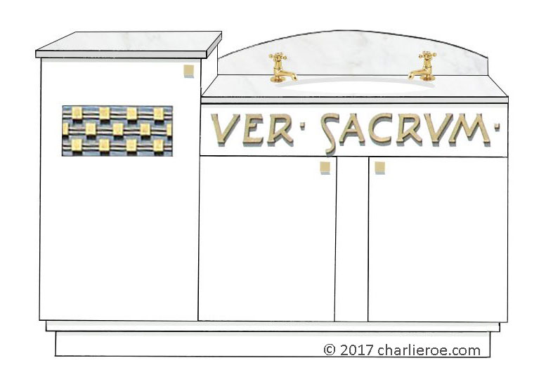 new Vienna Secession Art Nouveau Jugendstil painted 3 door bathroom vanity unit with cararra marble top & Ver Sacrum words on front