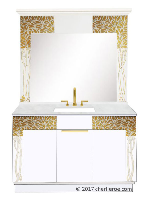 new Vienna Secession Art Nouveau Jugendstil painted 2 door vanity unit & matching gold foliage wall mirror