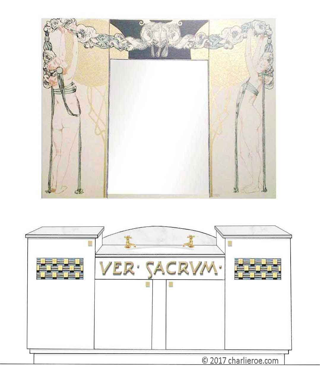 new Vienna Secession Art Nouveau Jugendstil painted 4 door vanity unit with matching Koloman Moser wall mirror panel above