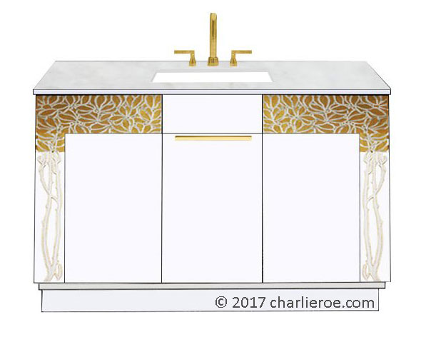 new Vienna Secession Art Nouveau Jugendstil painted 2 door bathroom vanity unit with cararra marble top & Ver Sacrum words on front